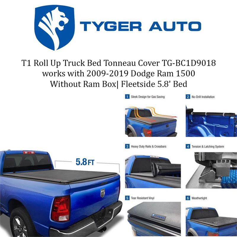 Clearance Depot New Tyger Auto T1 Roll Up Truck Bed Tonneau Cover Tg Bc1d9018 Works With 2009 2019 Dodge Ram 1500 Without Ram Box Fleetside 5 8 Bed